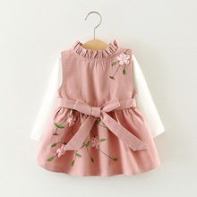 Baby Girls Embroidery Dress Autumn Winter Flowers Pattern  Infant Children Girls Long Sleeve Party Princess Dresses