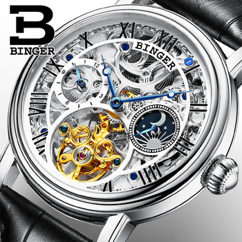 High end Tourbillon Mechanical Watches Switzerland BINGER Automatic Watch Men Leather Strap Sapphire Moon Phase Horloges mannen Mechanical Watches