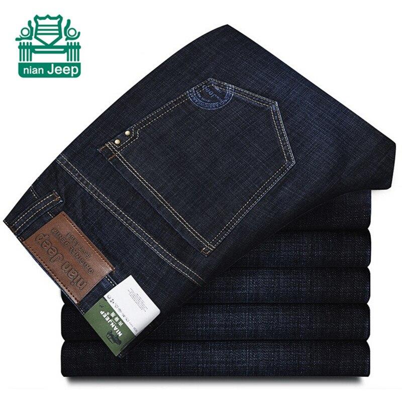 цена на NianJeep Wholesale Price 2015 Autumn Man's Dark Blue Jeans,Straight Cotton leisure Denim Pants,Original Brand Cowboy Trousers