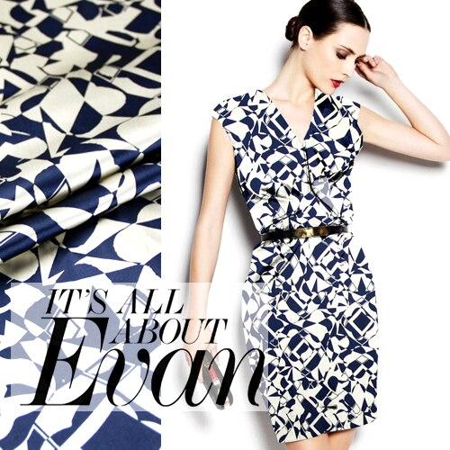 108cm wide 94 silk 6 spandex 19mm dark blue geometry elastic silk satin fabric for clothes