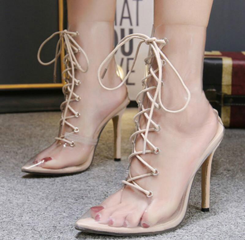 ladies chaussure women lace up clear trasparent shoes woman zapatos mujer  sapato ankle boots thin heels sandals pumps XZ180255 6f66b1069815