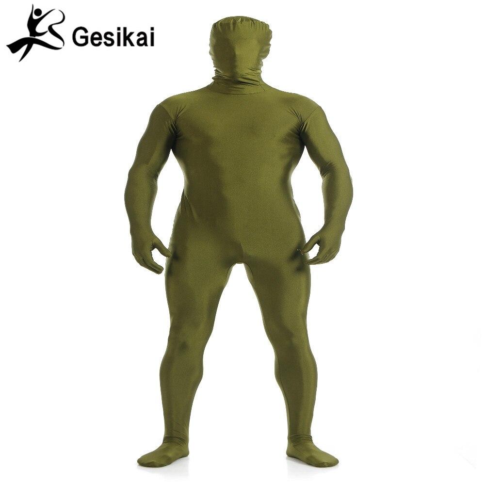 Gesikai Men Lycra Full Body Zentai Suit Custom Second Skin Tight Suits Spandex Nylon Bodysuit Halloween Costume for Men