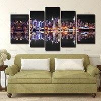 Banmu 5ピース現代アート抽象油彩画キャンバス壁写真市ナイト照明効果ビュープリントとポスタ