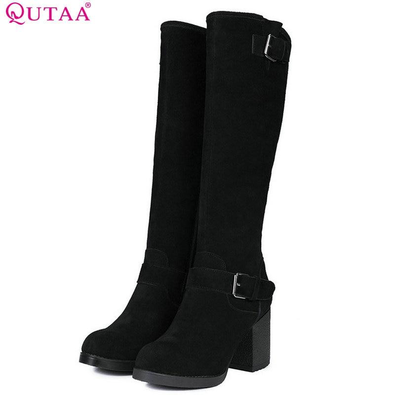 QUTAA 2018 Women Knee High Boots Zipper Design Square High Heel Round Toe Westrn Style Black Women Afshion Boots Size 34-39