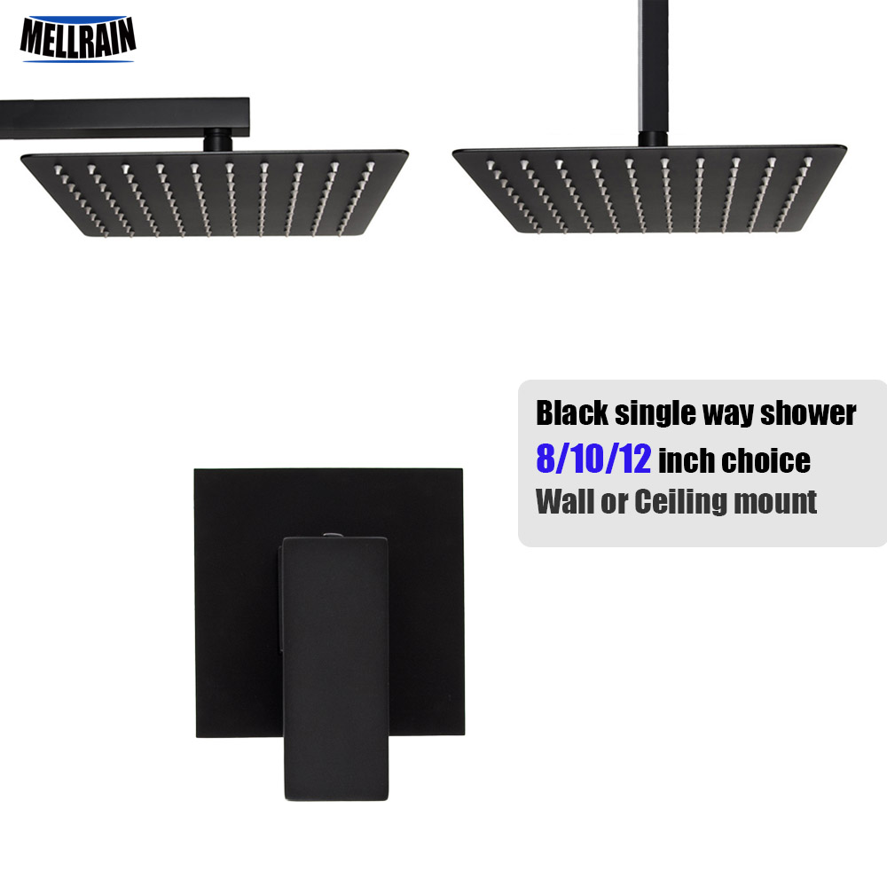 Quality Black Plated Single Handle Bath Shower Set Square Water Mixer Wall Or Ceiling Mounted Rain Shower Head 8/10/12 Inch