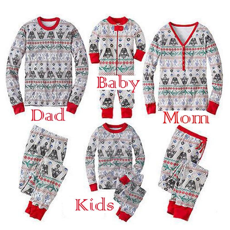2017 Star Wars Christmas Family Matching Pajamas Set Mother Father Son Long Sleeve Cotton Sleepwear baby mom Nightwear Pyjamas