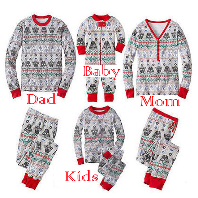 2017 star wars christmas family matching pajamas set mother father son long sleeve cotton sleepwear baby - Star Wars Christmas Pajamas