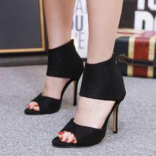 2019 женская обувь, сандалии, открытый носок, застежка-молния, женские туфли-лодочки, шпильки, высокий каблук, тонкий каблук, вечерние для, sandalia feminina, черный цвет