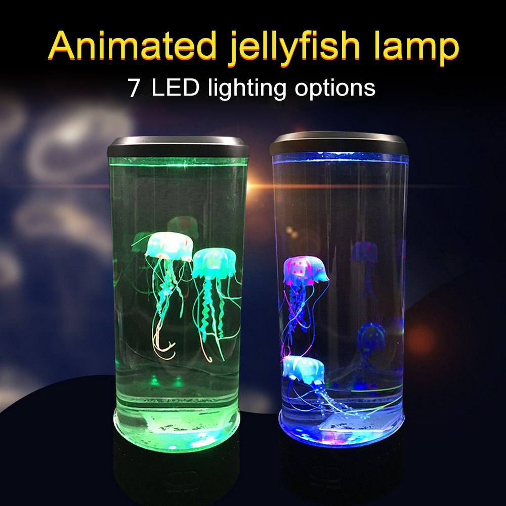 7 Color Changing LED <font><b>Jellyfish</b></font> Lamp Aquarium Bedside Night <font><b>Light</b></font> Decorative Romantic Atmosphere USB Charging Creative Gift image