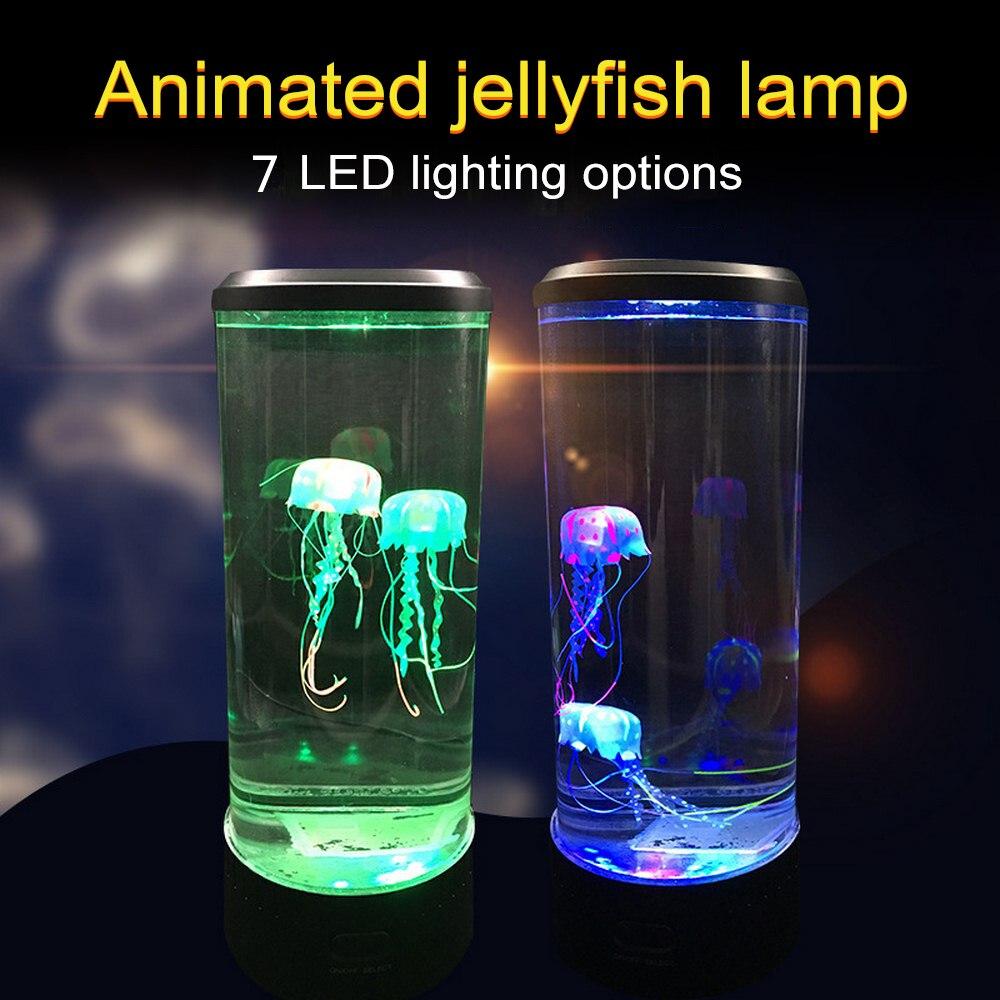 7 LED à couleur changeante méduse lampe Aquarium chevet veilleuse décorative romantique atmosphère USB charge cadeau créatif