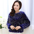 2015 Winter women faux fox fur coats Fashion blue warm cozy lady tassel parka Personality luxury female short overcoat Plus Size