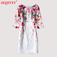White Brilliant Print Dress 2017 Early Autumn High Quality Short Sleeve Sweet Flowers Cultivate Collect Waist