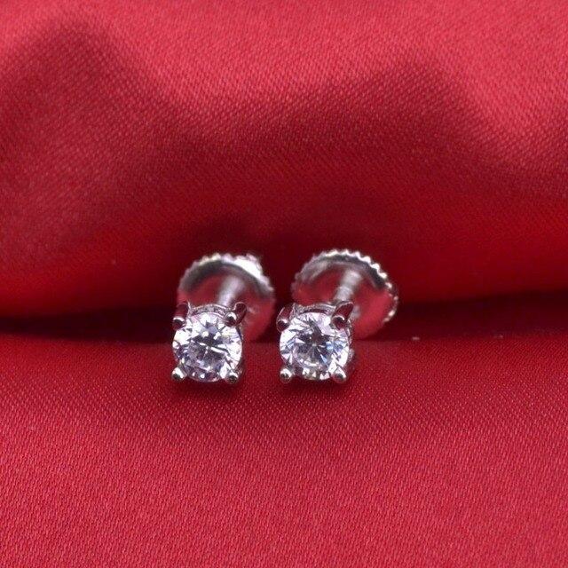 LSE934 Stud Earrings 925 sterling silver Screw Back earring zircon 6mm,