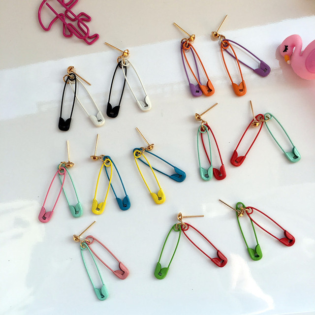 Fashion Colorful Safety Pin Geometry Stud Earrings Creative Cute Candy Color Earrings For Women Funny Party Unique Jewelry Gift