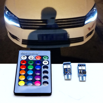 цена на T10 W5W LED Car Lights RGB With Remote For volkswagen vw golf 4 5 6 7 tiguan polo passat b5 b6 jetta touran touareg Mk4