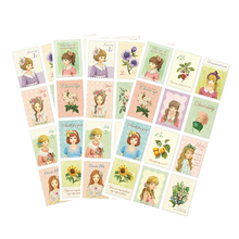 1 sheet/Pack Kawaii Vintage Alice Stamp Paper Stickers Cute Little Lovely Girls Petit Postage Sticker For Diary Scrapbooking