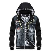 New Men's Denim Jacket Designer Fashion Cowboy Stitching Hood Fleece Jacket Coat For Men Coats Plus Size Outwear M~2XL AF8903