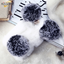 KISSCASE Rabbit Hart Fundas Case For iPhone 7 6 6s Case iPhone 6 6s 7 Plus Case Fluffy Fur Hairy Cover For iPhne 7 6s Plus Capa