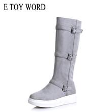 купить E TOY WORD winter boots women shoes warm keep flat high Boots woman round toe zipper Flock fur ladies fashion thigh snow boots дешево