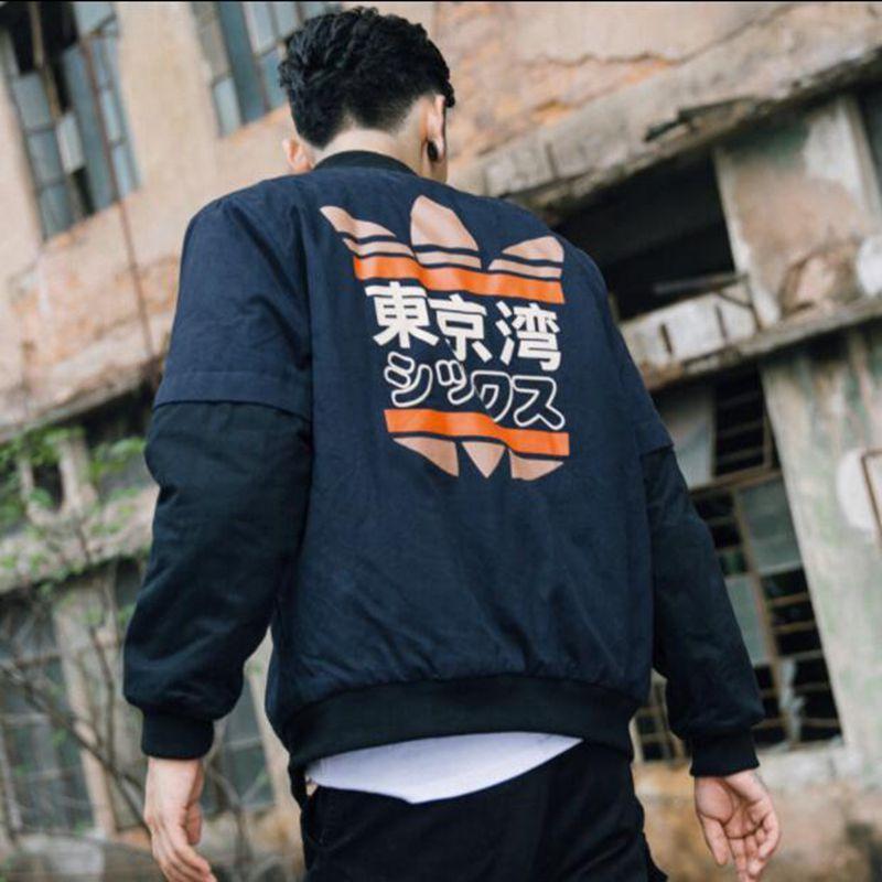 Primavera de 2018 MA1 hombres chaqueta de Bombardero de La Bahía de Tokio Impresión de prendas Japón vuelo militar piloto chaquetas hombre abrigo de la ropa