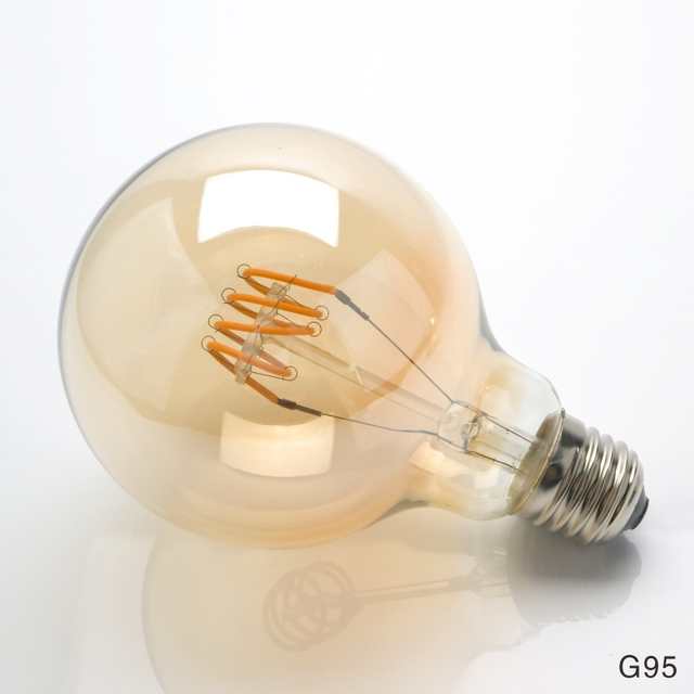 LARZI T45 ST64 G80 G95 G125 Spiral Light LED Filament Bulb 4W 2200K Retro Vintage Lamps Decorative Lighting Dimmable Edison Lamp