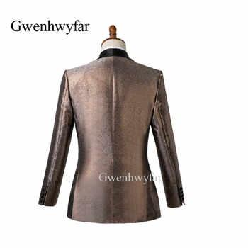 Gwenhwyfar Shiny Orange Sliver Grey Mens Wedding Suits Tuxedo Slim Fit Man Suit Blazer Pant Masculino Dress Suit For Men 2 Piece