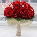 2016 Artificial Rojo de La Boda Ramos de Flores Para Novias Rosa Blanco Crystal Flores Beach Nupcial Ramos de Flores Broche de Dama de honor de la Mano Que Sostiene