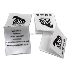 free shipping satin printed label with cut and fold/garment care label/clothing washing labels/tag printing/washing signs