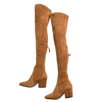 Women Over The Knee Boots Zipper spring Winter boots goodnight macaroon chunky heels quality suede long Boots comfort