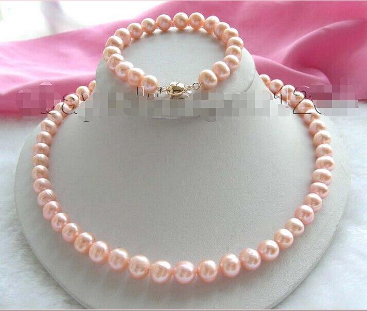 ShippingGenuine Naturel 10mm Rose Collier de Perles Bracelet Ensemble! chaude
