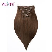 YILITE 18inch Double Drawn Remy Human Hair Clips in Hair Extensions, European Clips in Straight Hair Weft Free shipping