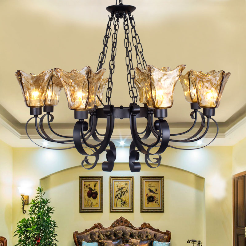 European chandelier villa living room lamp American country bedroom lamp retro iron restaurant lamp Mediterranean chandelier european style retro glass chandelier north village industrial study the living room bedroom living rough bar lamp loft