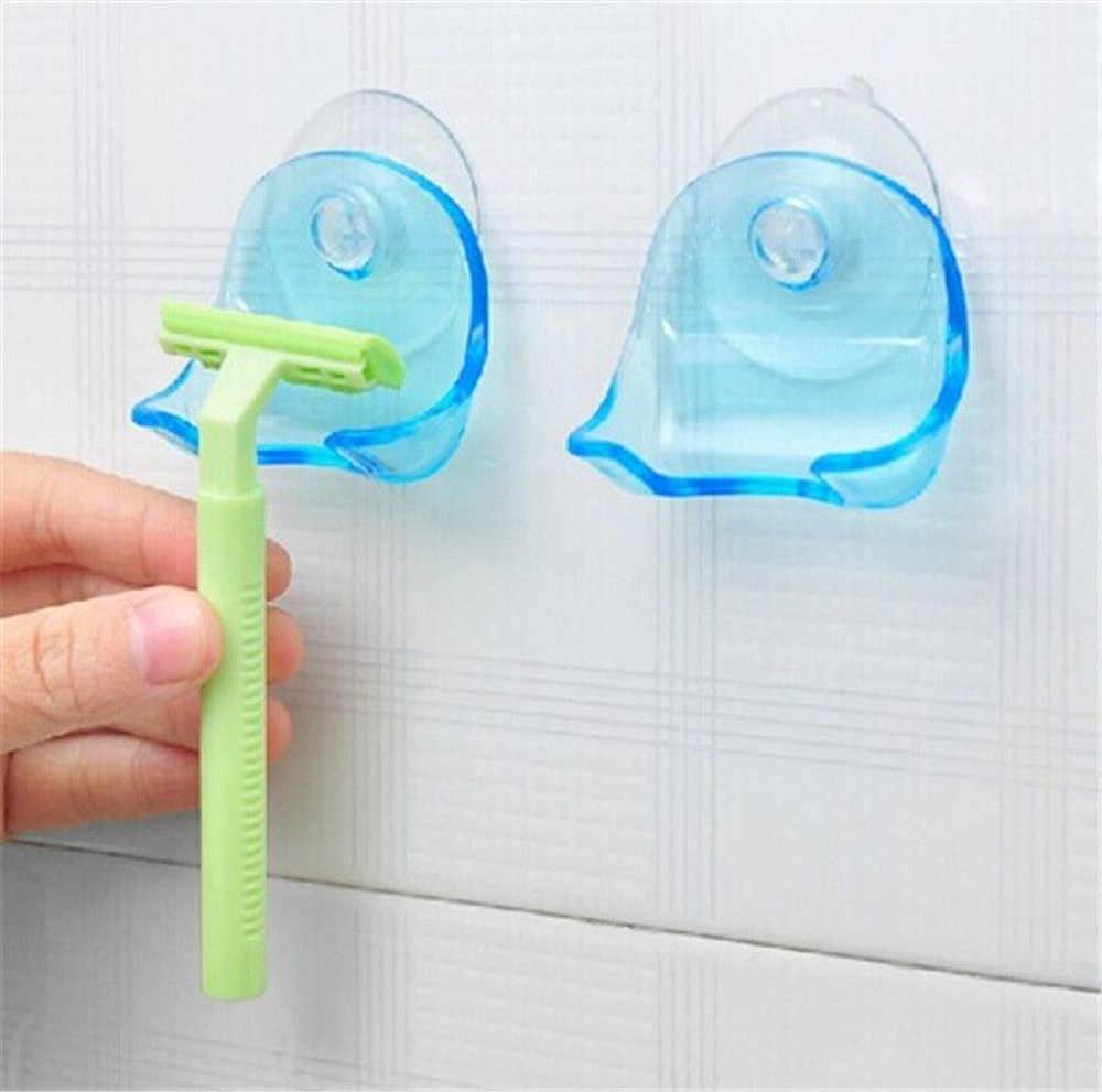 LASPERAL 1 قطعة واضح الأزرق البلاستيك سوبر شفط كأس الحلاقة رف الحمام الحلاقة حامل شفط كأس ماكينة حلاقة تخزين الرف تعزيز