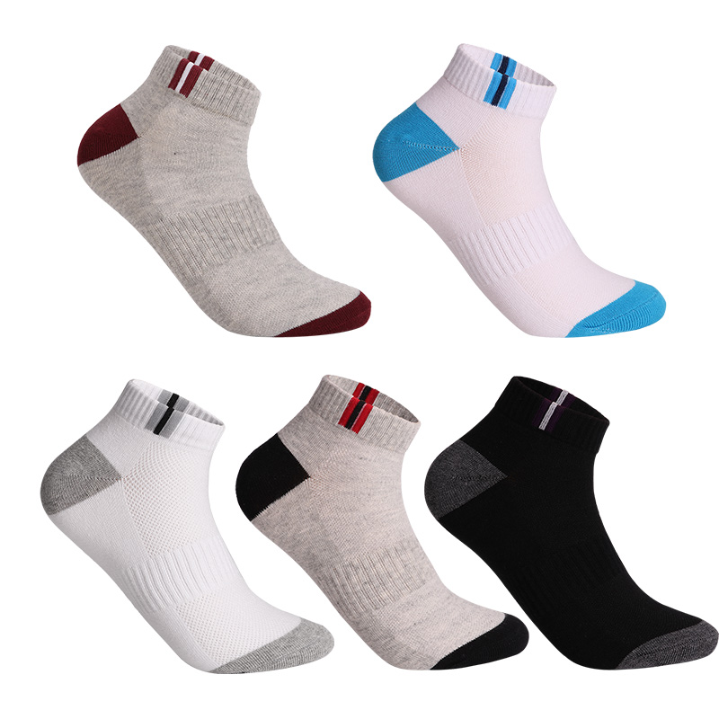 Cotton Socks Men's Solid Color Fashion Male Boat Socks Shallow Mouth Absorb Sweat Man Short Socks Spring Autumn Meias 5pairs/lot