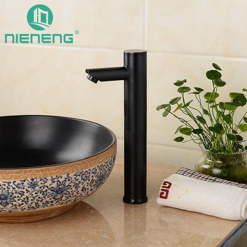 nieneng touch free automatic sensor faucets black bathroom sink faucet cold water basin mixer restaurant tap