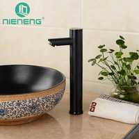 NIENENG touch free automatic sensor faucets black bathroom sink faucet cold water basin mixer restaurant tap brass taps ICD60265