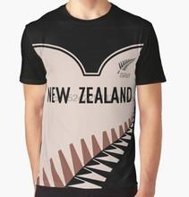 a3eda55247c Сплошным принтом Футболка Для мужчин Funy футболка Новая Зеландия крикет  короткий рукав О-образным вырезом