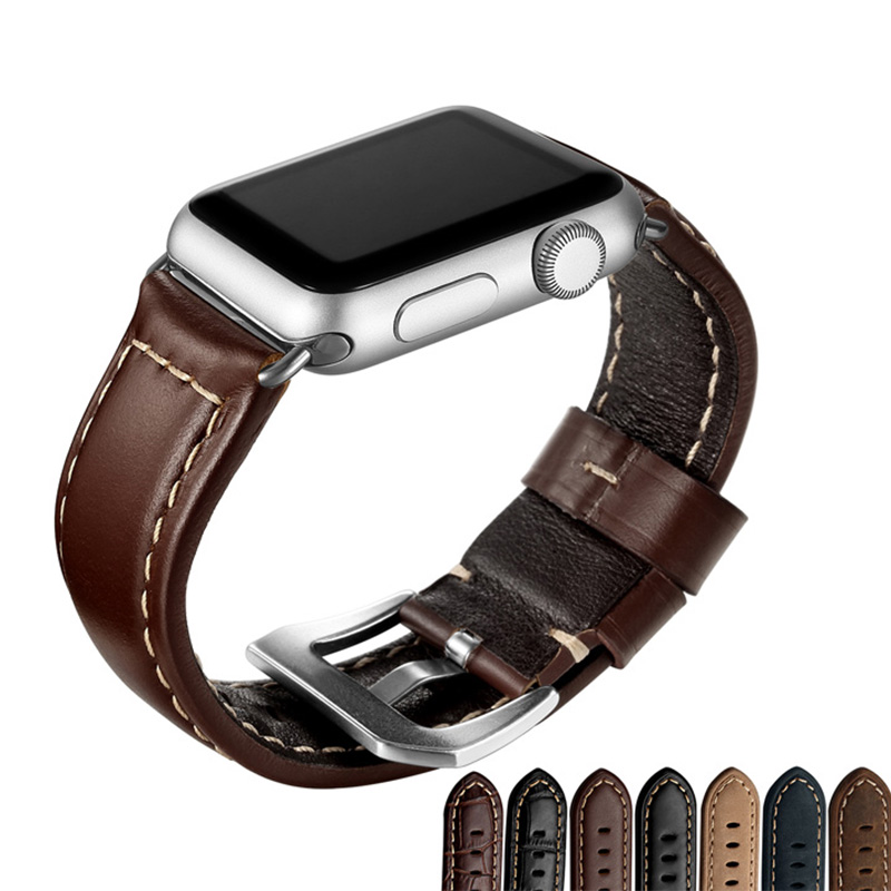 38mm 42mm Genuine Leather Watch Band For Apple Watch Classic Style Black Brown Sport loop High Quality Casual Watch Band genuine leather classic buckle watch straps wrist band for apple watch 42mm red