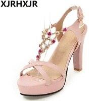 XJRHXJR Shoes Women Sandals Summer High Heels Sandals Party Wedding Pink Shoes T strap Rhinestone Sandals White Heels Size 34 43