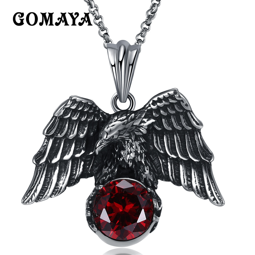 GOMAYA Antique Silver Plated Animal Eagle Pendant Necklace Bs