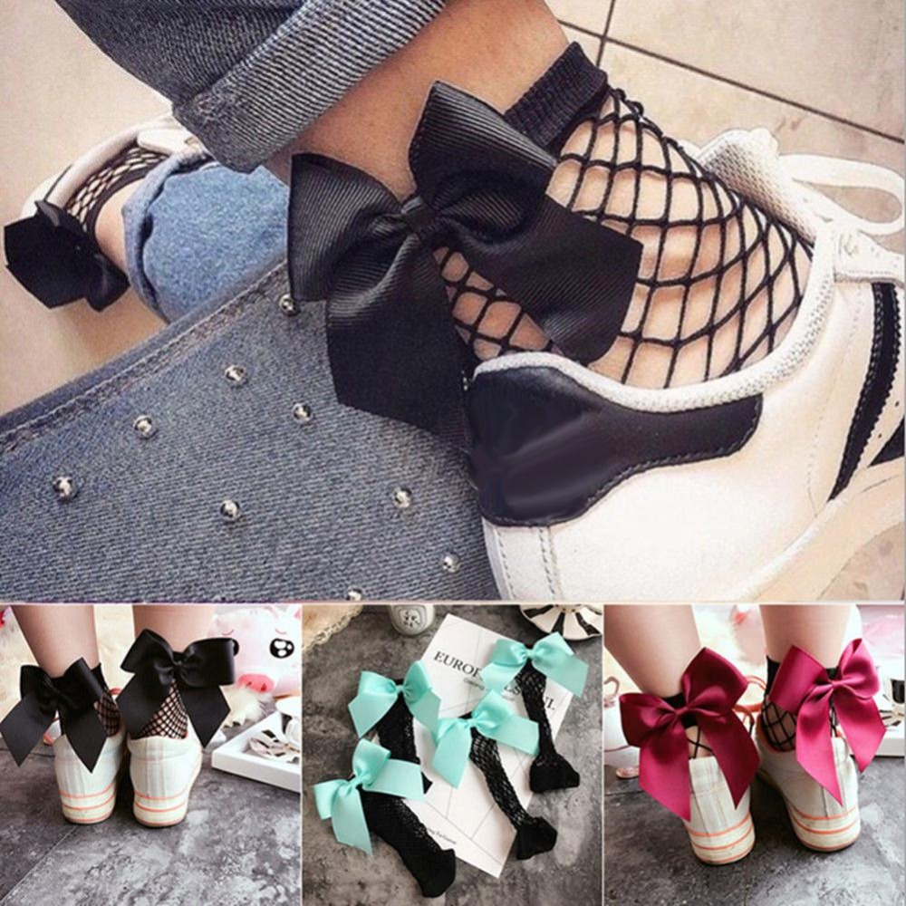 1 Pair Breathable Fashion Women Ruffle Large Fishnet Ankle High Socks Bowknot Tie Mesh Lace Fish Net Beautiful Soft Short Socks