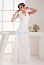 free shipping 2013 formal dress new design hot sale cap sleeve long brides maid beaing chiffon white/ivory evening Dress