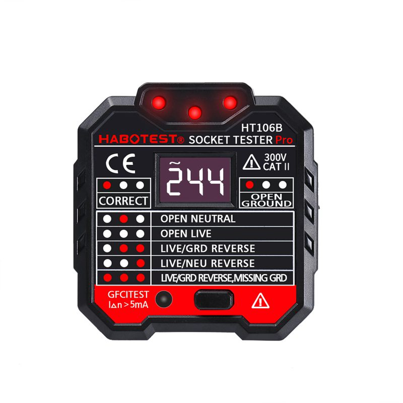 Electroscope Socket Tester Outlet Tester Automatic Electric Circuit Polarity Phase Voltage Detector Wall Plug Breaker Finder