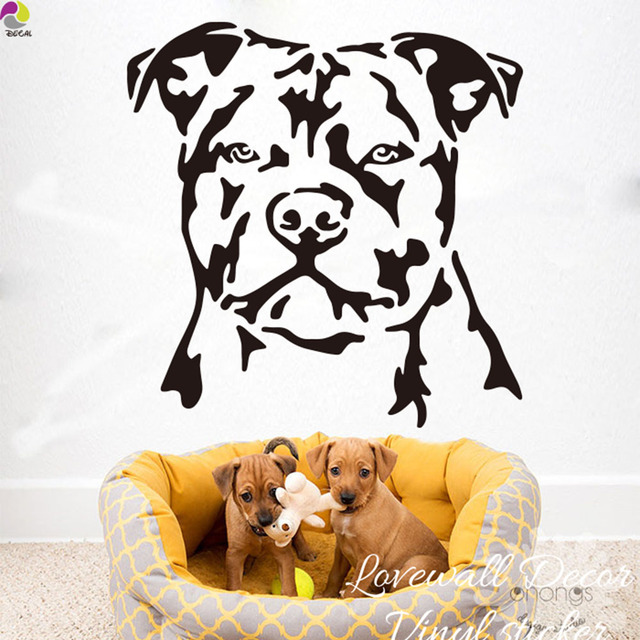 Superbe Staffordshire Bull Terrier Dog Wall Sticker Baby Nursery Kids Room Sofa  Cartoon Dog Animal Wall Decal