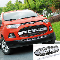 2 PCS SET Silver For Ford EcoSport Modified F150 Style Front Hood Center Grille Grill Car