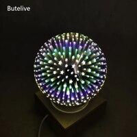 3D שולחן מנורות LED זכוכית כדור מנורה שליד המיטה קסם קריסטל USB לילה אור יום הולדת ילדים מתנה זיקוקין אמנות דקו Lampara דה Mesa