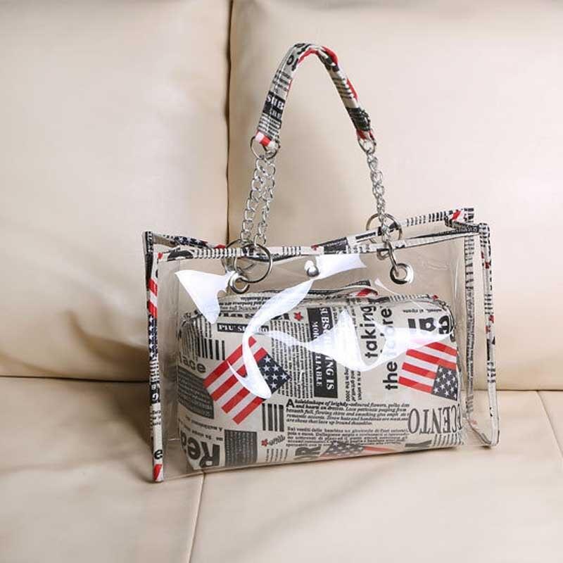 New Style Women Handbag Transparent Stripe/Flag/Dot Painting Shoulder Beach Bag PVC Tote Bags LBY2017 алиэкспресс сумка прозрачная