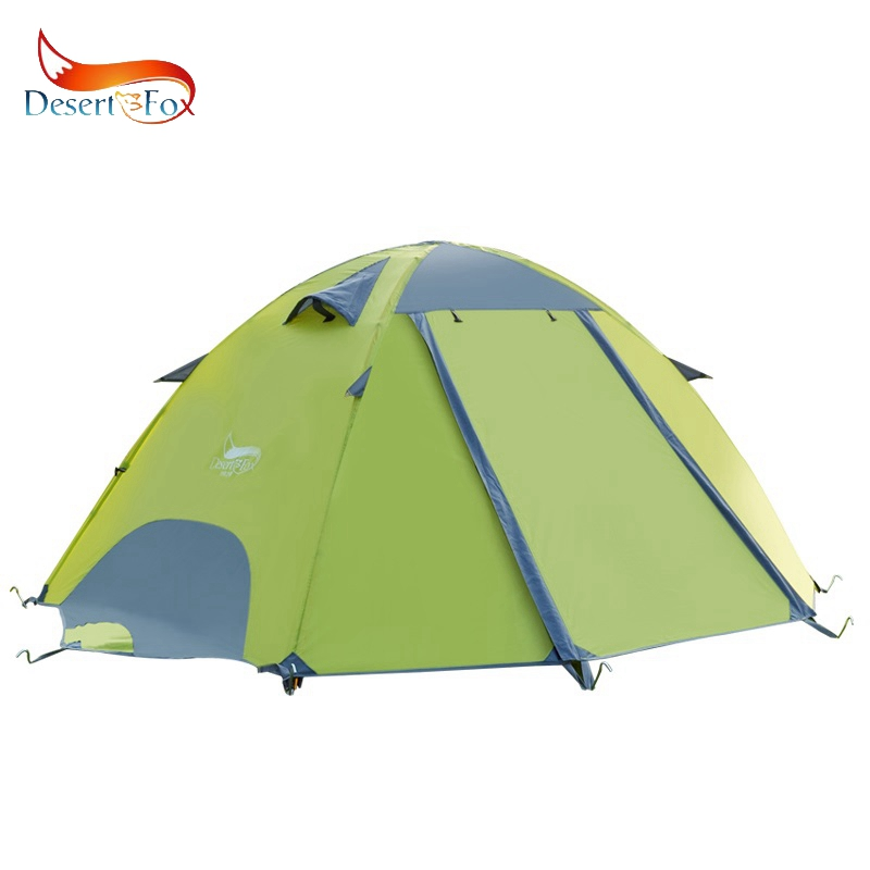 Desert Fox Backpacking Waterproof Tent 2 3 Person Fiberglass Poles Double Layer Family Camping Instant Setup