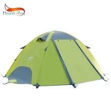Barraca impermeável do backpacking do deserto & da raposa, 2 3 pólos da fibra de vidro da pessoa barraca de acampamento instantânea da família da dupla camada para caminhadas