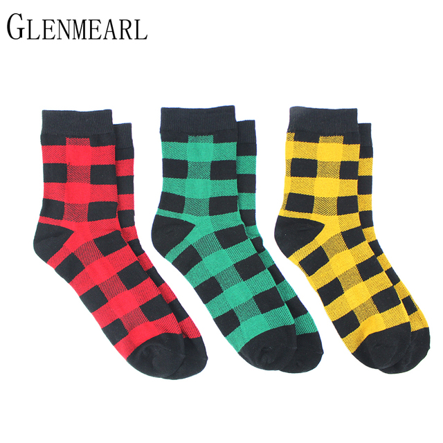 5 Pair/Lot Cotton Women Socks Brand Plaid Spring Fall Fashion Cute Red Green Compression Coolmax Ankle Female Socks Hosiery 61
